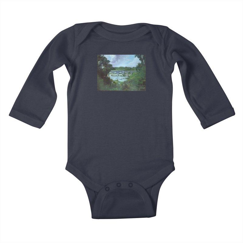 Bridge Over the James, Richmond, VA Kids Baby Longsleeve Bodysuit by NatalieGatesArt's Shop