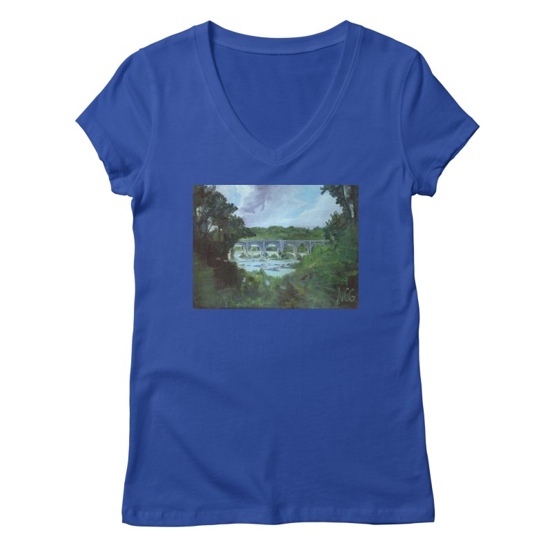 Bridge Over the James, Richmond, VA Women's Regular V-Neck by NatalieGatesArt's Shop