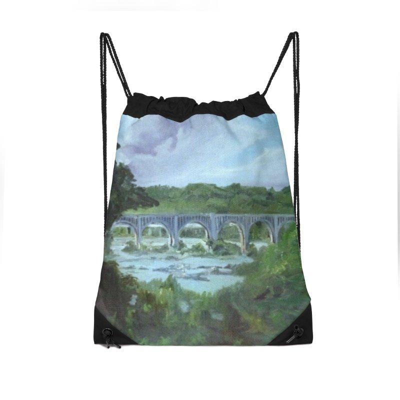 Bridge Over the James, Richmond, VA Accessories Drawstring Bag Bag by NatalieGatesArt's Shop