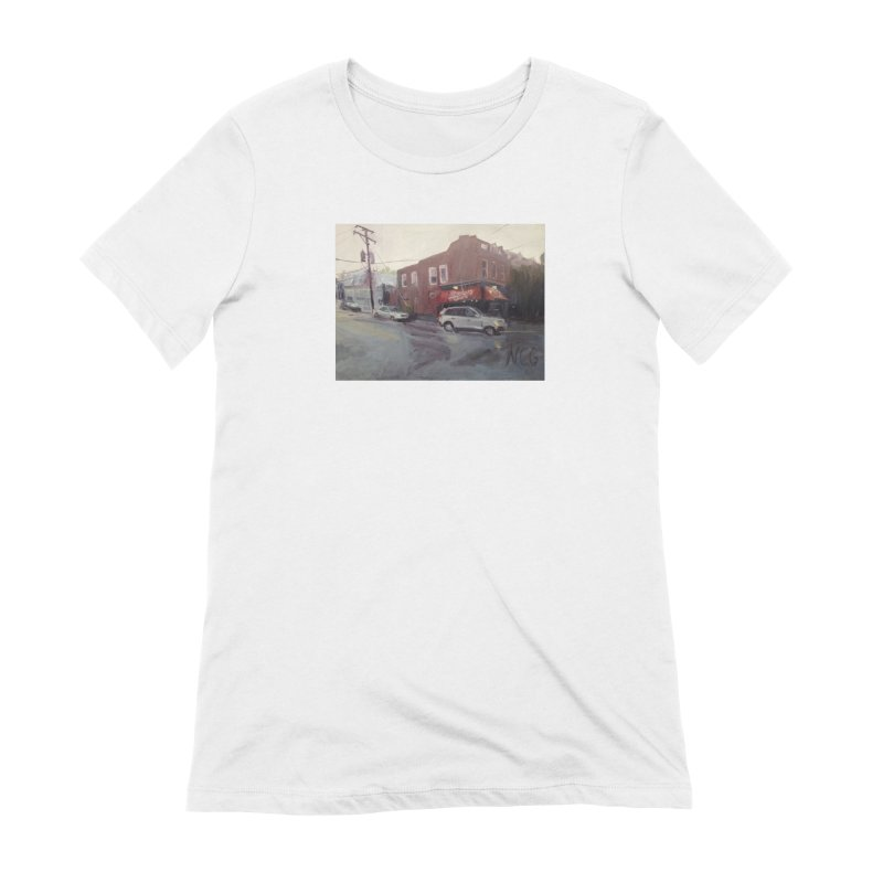 """Bamboo Cafe in a Summer Evening Storm"" Women's Extra Soft T-Shirt by NatalieGatesArt's Shop"