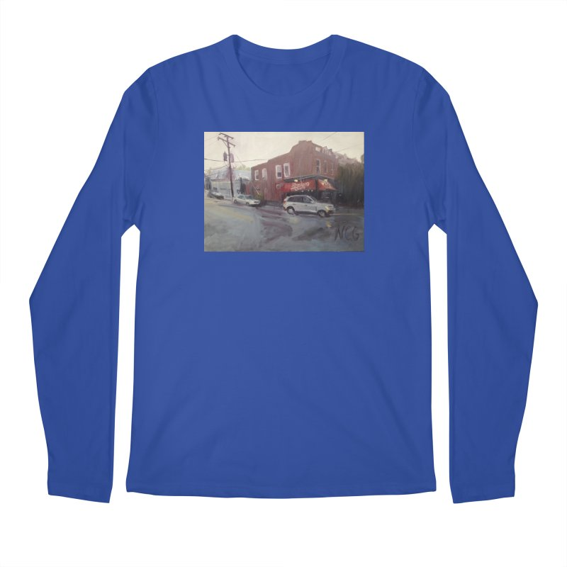 """Bamboo Cafe in a Summer Evening Storm"" Men's Regular Longsleeve T-Shirt by NatalieGatesArt's Shop"