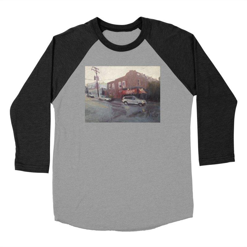 """Bamboo Cafe in a Summer Evening Storm"" Men's Baseball Triblend Longsleeve T-Shirt by NatalieGatesArt's Shop"