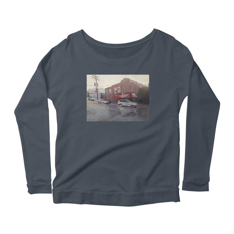 """Bamboo Cafe in a Summer Evening Storm"" Women's Scoop Neck Longsleeve T-Shirt by NatalieGatesArt's Shop"