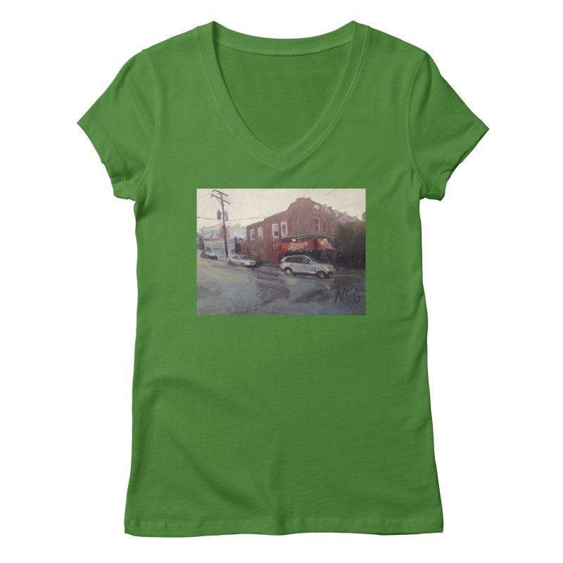 """Bamboo Cafe in a Summer Evening Storm"" Women's Regular V-Neck by NatalieGatesArt's Shop"