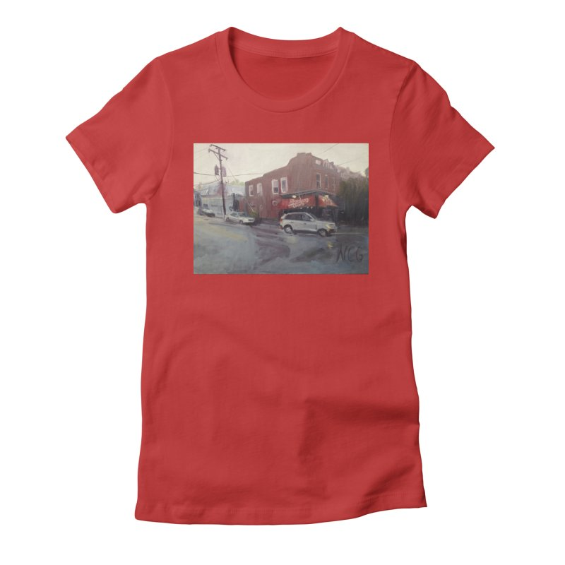 """""""Bamboo Cafe in a Summer Evening Storm"""" Women's Fitted T-Shirt by NatalieGatesArt's Shop"""