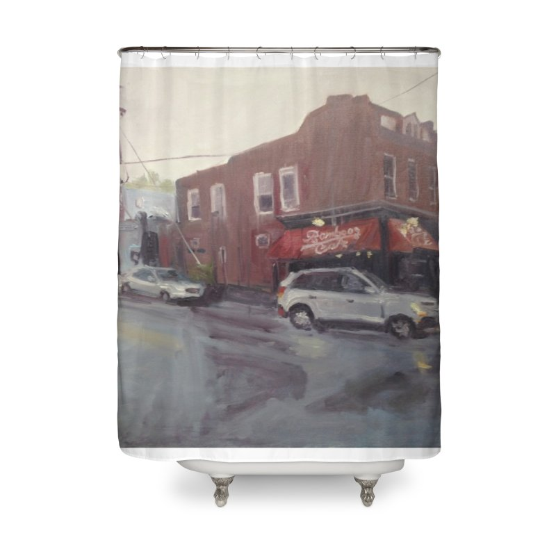 """""""Bamboo Cafe in a Summer Evening Storm"""" Home Shower Curtain by NatalieGatesArt's Shop"""