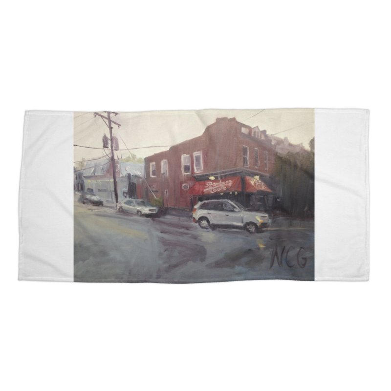 """""""Bamboo Cafe in a Summer Evening Storm"""" Accessories Beach Towel by NatalieGatesArt's Shop"""
