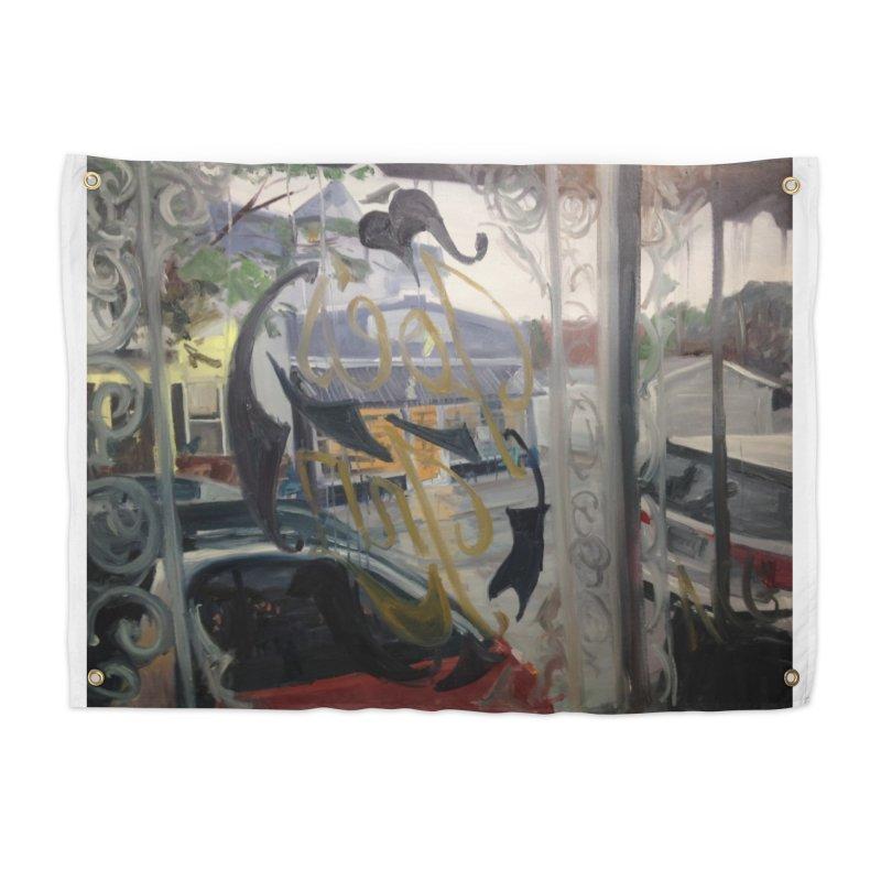 """""""Shields Market in a Summer Shower as seen from inside Joe's Inn Home Tapestry by NatalieGatesArt's Shop"""