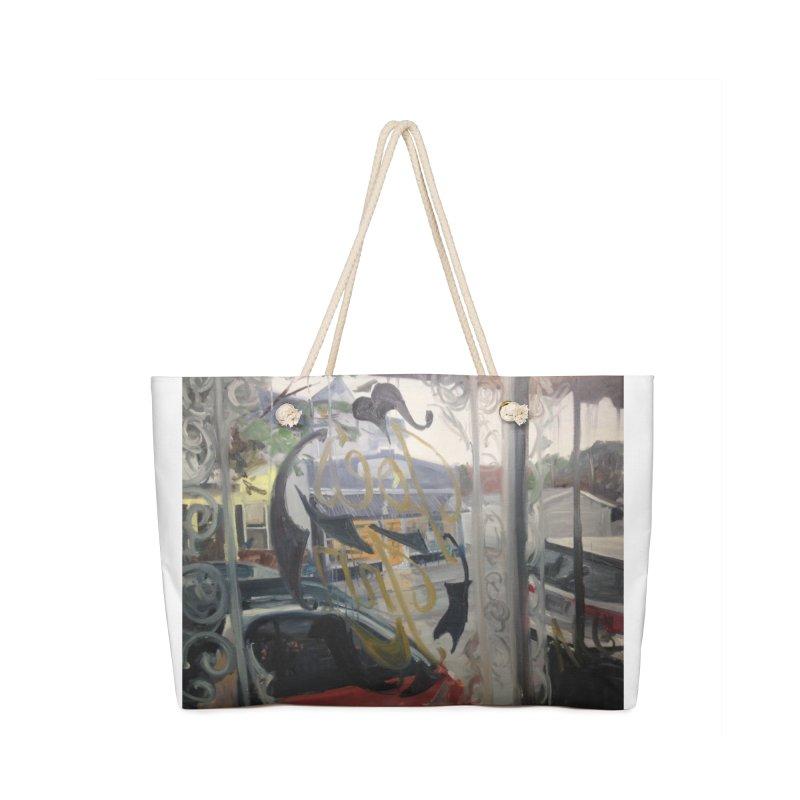 """Shields Market in a Summer Shower as seen from inside Joe's Inn Accessories Weekender Bag Bag by NatalieGatesArt's Shop"