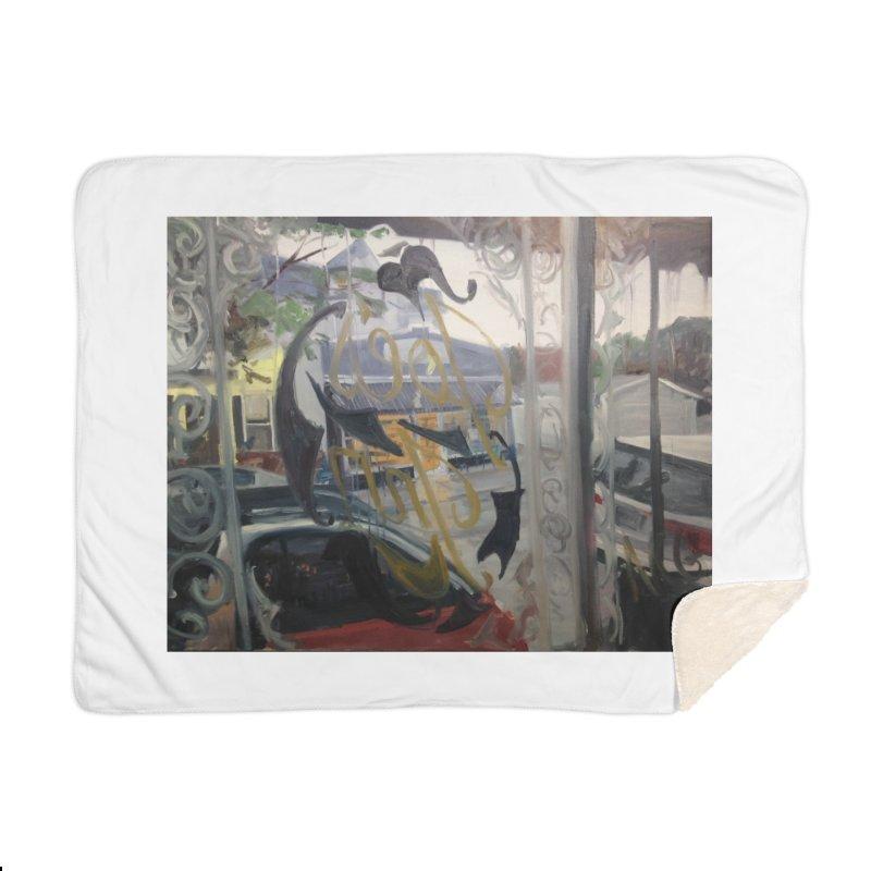 """""""Shields Market in a Summer Shower as seen from inside Joe's Inn Home Sherpa Blanket Blanket by NatalieGatesArt's Shop"""