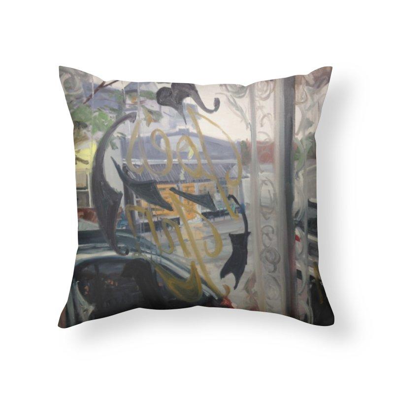 """Shields Market in a Summer Shower as seen from inside Joe's Inn Home Throw Pillow by NatalieGatesArt's Shop"