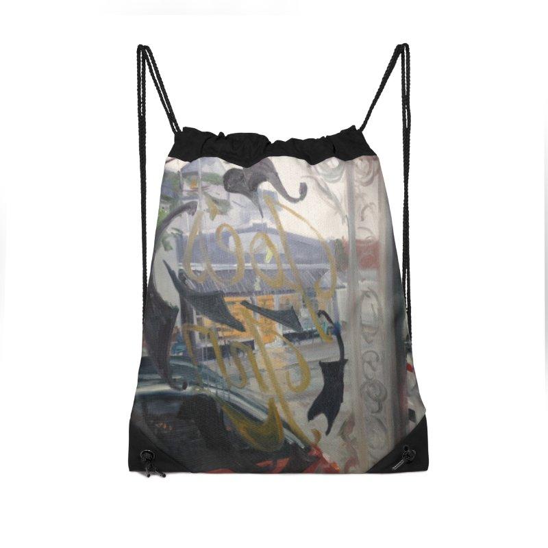 """Shields Market in a Summer Shower as seen from inside Joe's Inn Accessories Drawstring Bag Bag by NatalieGatesArt's Shop"