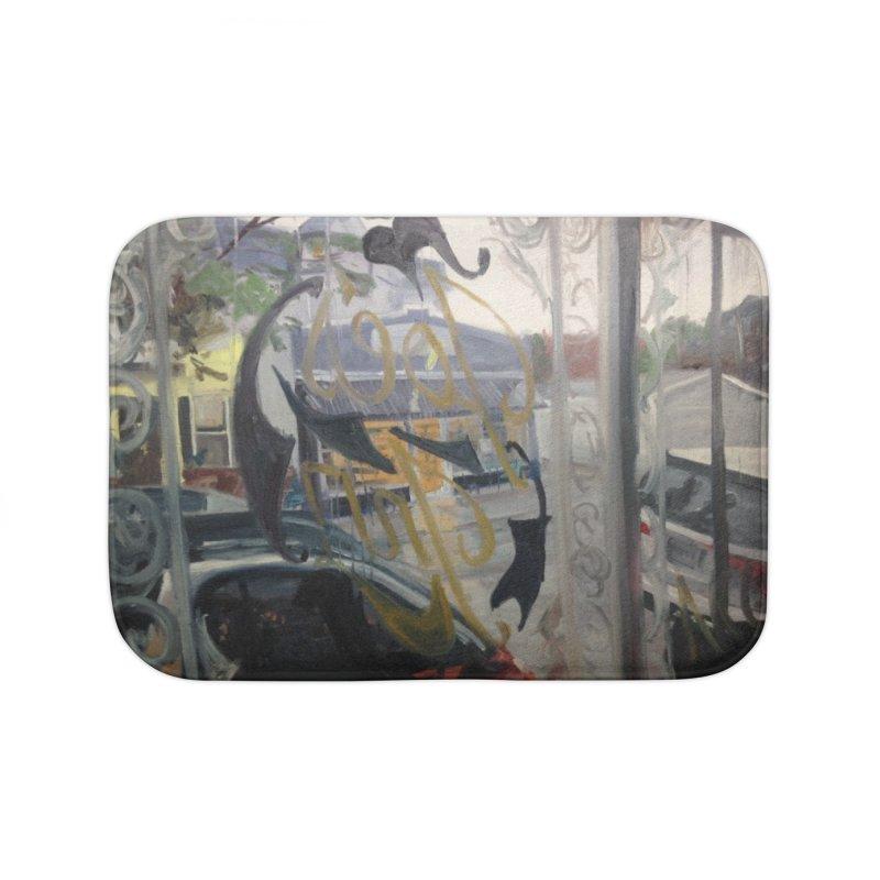 """Shields Market in a Summer Shower as seen from inside Joe's Inn Home Bath Mat by NatalieGatesArt's Shop"