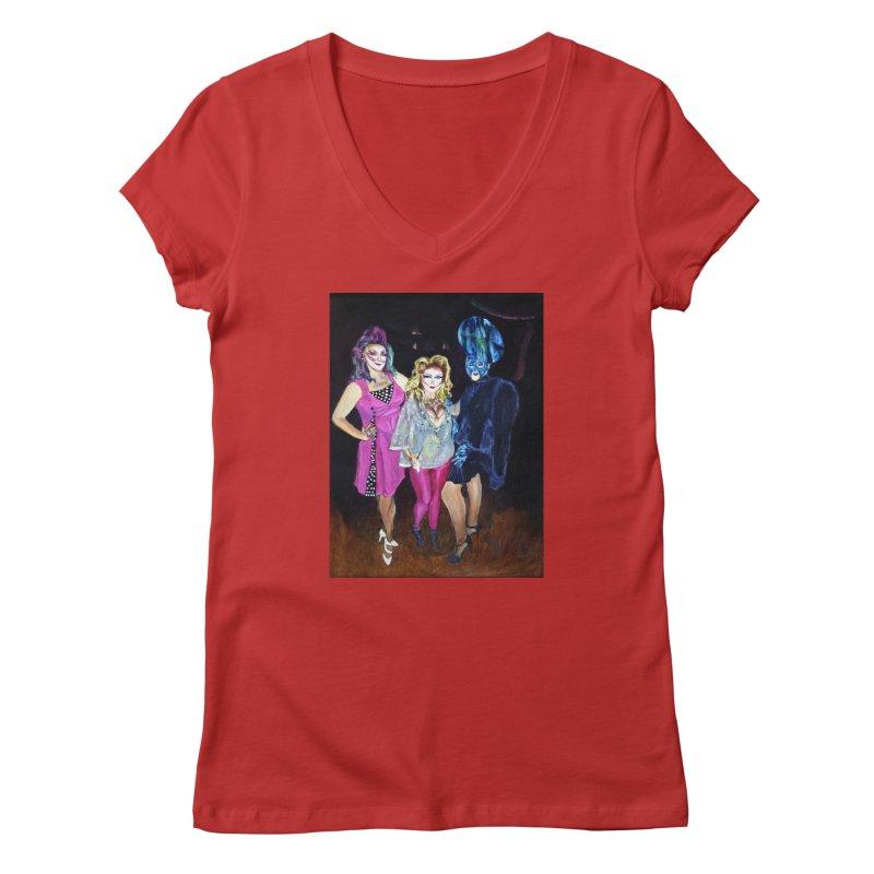 """Three Fancy Ladies"" Women's V-Neck by NatalieGatesArt's Shop"