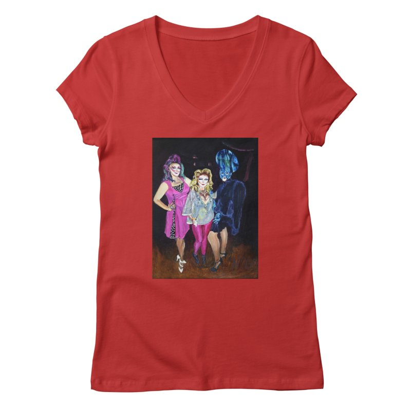 """Three Fancy Ladies"" Women's Regular V-Neck by NatalieGatesArt's Shop"