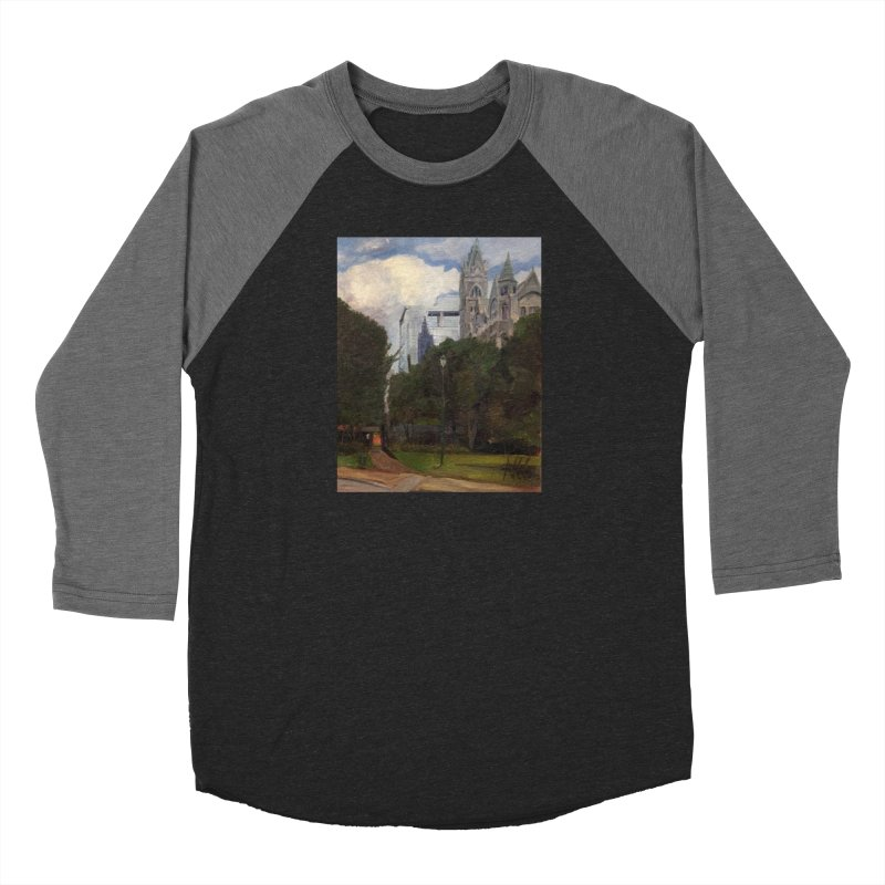Old City Hall and Reflection Men's Baseball Triblend Longsleeve T-Shirt by NatalieGatesArt's Shop
