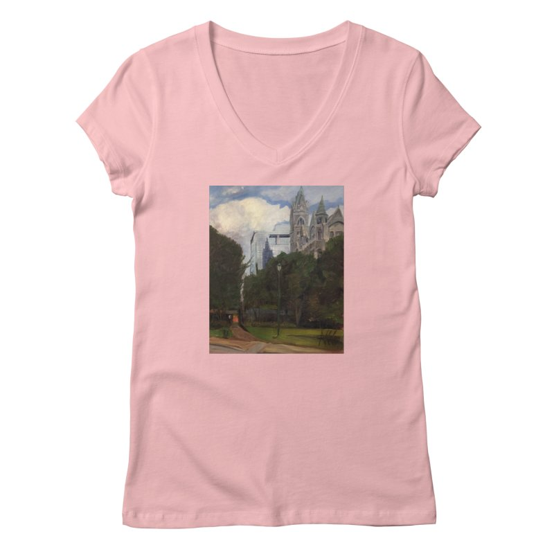 Old City Hall and Reflection Women's Regular V-Neck by NatalieGatesArt's Shop