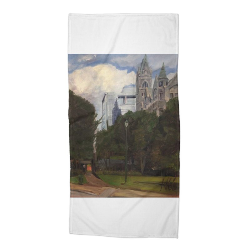 Old City Hall and Reflection Accessories Beach Towel by NatalieGatesArt's Shop