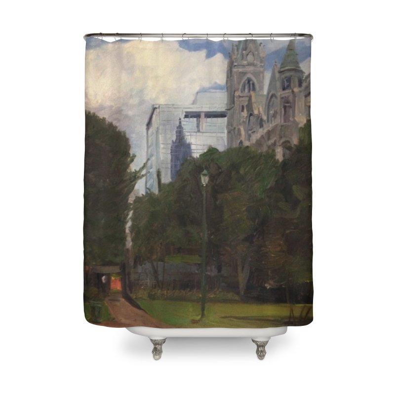 Old City Hall and Reflection Home Shower Curtain by NatalieGatesArt's Shop