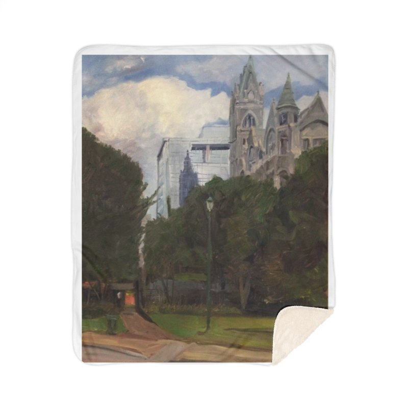 Old City Hall and Reflection Home Sherpa Blanket Blanket by NatalieGatesArt's Shop