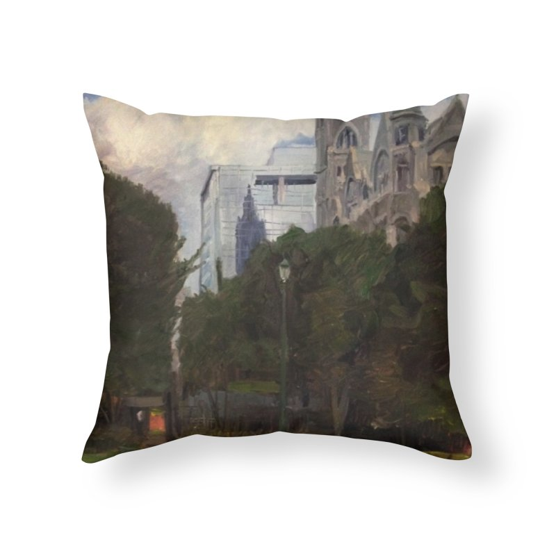 Old City Hall and Reflection Home Throw Pillow by NatalieGatesArt's Shop