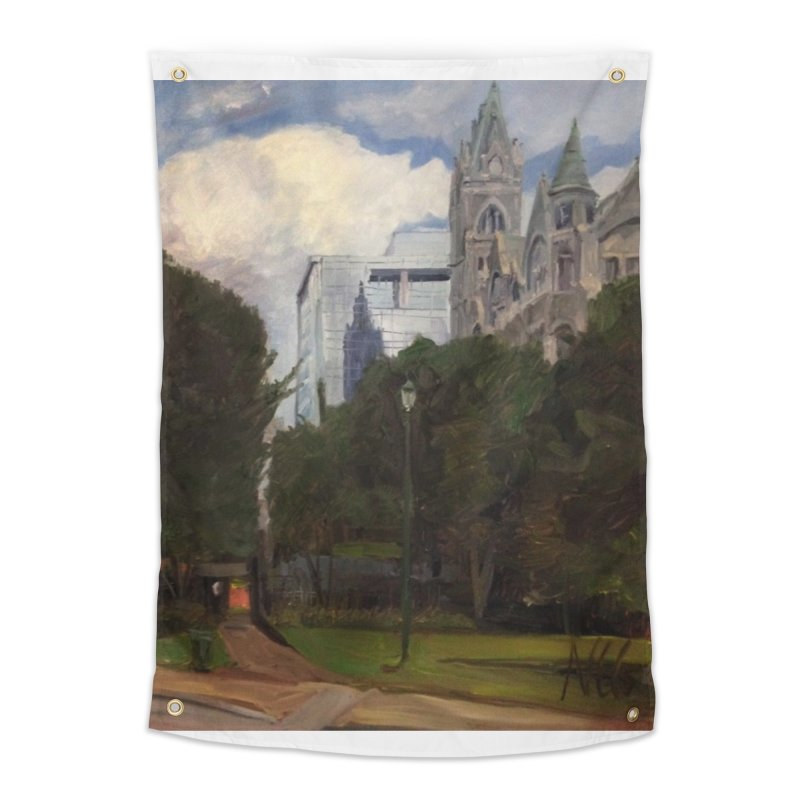 Old City Hall and Reflection Home Tapestry by NatalieGatesArt's Shop