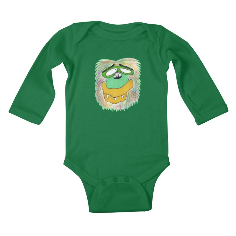 Monkey Guy Kids Baby Longsleeve Bodysuit by NatiRomero's Artist Shop