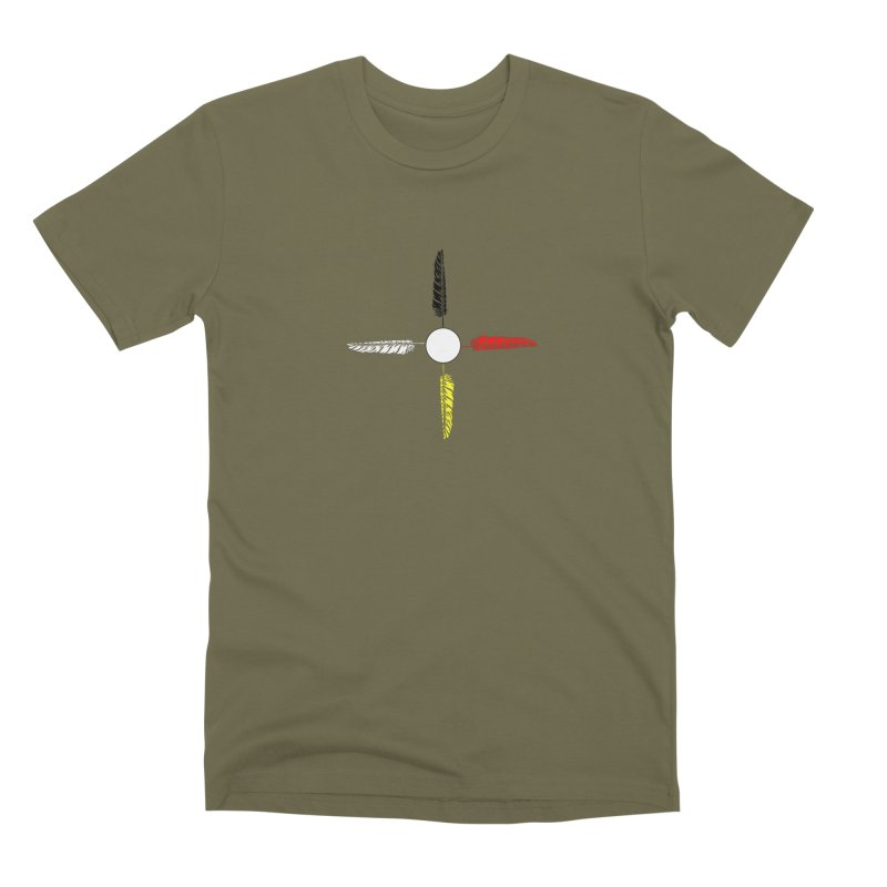4 Feathered Directions Men's Premium T-Shirt by NativeHoopMagazine's Artist Shop