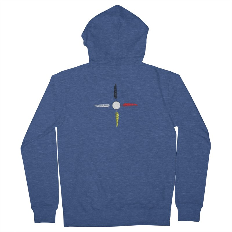 4 Feathered Directions Women's French Terry Zip-Up Hoody by NativeHoopMagazine's Artist Shop