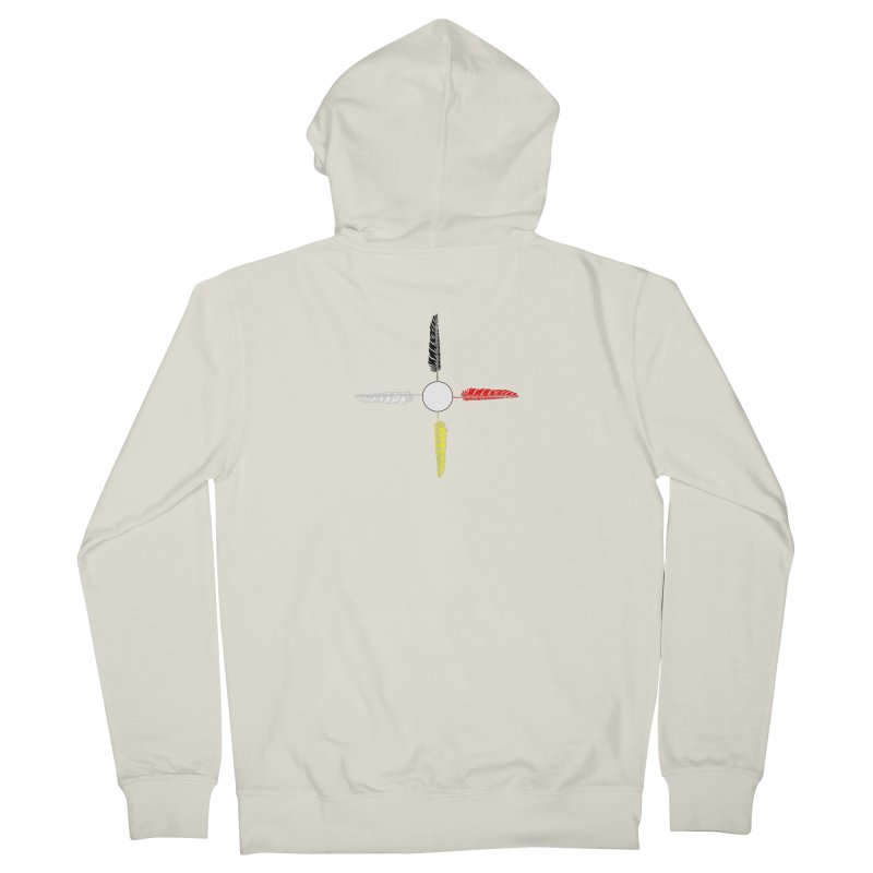 4 Feathered Directions Men's French Terry Zip-Up Hoody by NativeHoopMagazine's Artist Shop