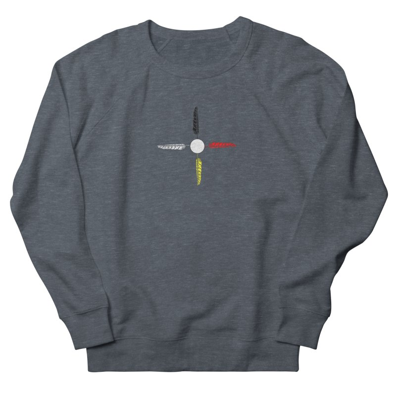 4 Feathered Directions Men's French Terry Sweatshirt by NativeHoopMagazine's Artist Shop