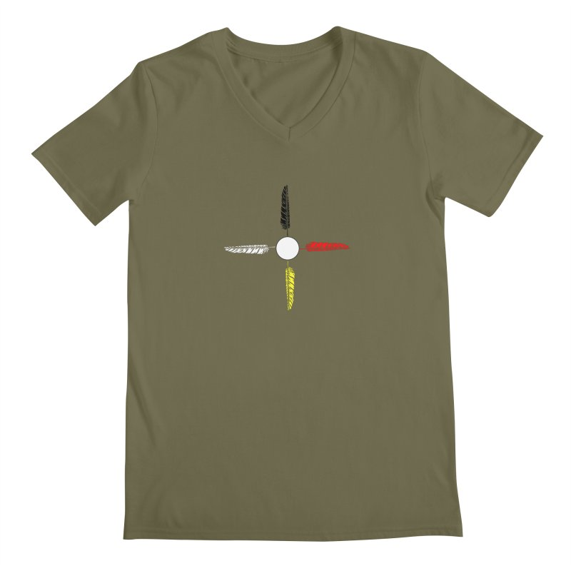 4 Feathered Directions Men's V-Neck by NativeHoopMagazine's Artist Shop