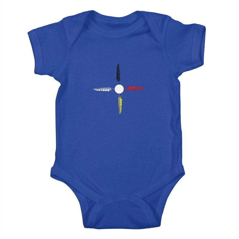 4 Feathered Directions Kids Baby Bodysuit by NativeHoopMagazine's Artist Shop