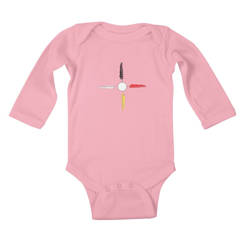 4 Feathered Directions Kids Baby Longsleeve Bodysuit by NativeHoopMagazine's Artist Shop