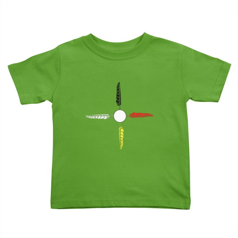 4 Feathered Directions Kids Toddler T-Shirt by NativeHoopMagazine's Artist Shop