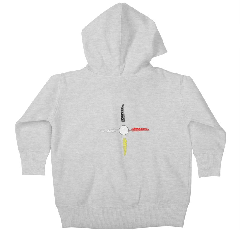 4 Feathered Directions Kids Baby Zip-Up Hoody by NativeHoopMagazine's Artist Shop
