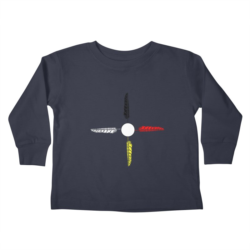 4 Feathered Directions Kids Toddler Longsleeve T-Shirt by NativeHoopMagazine's Artist Shop