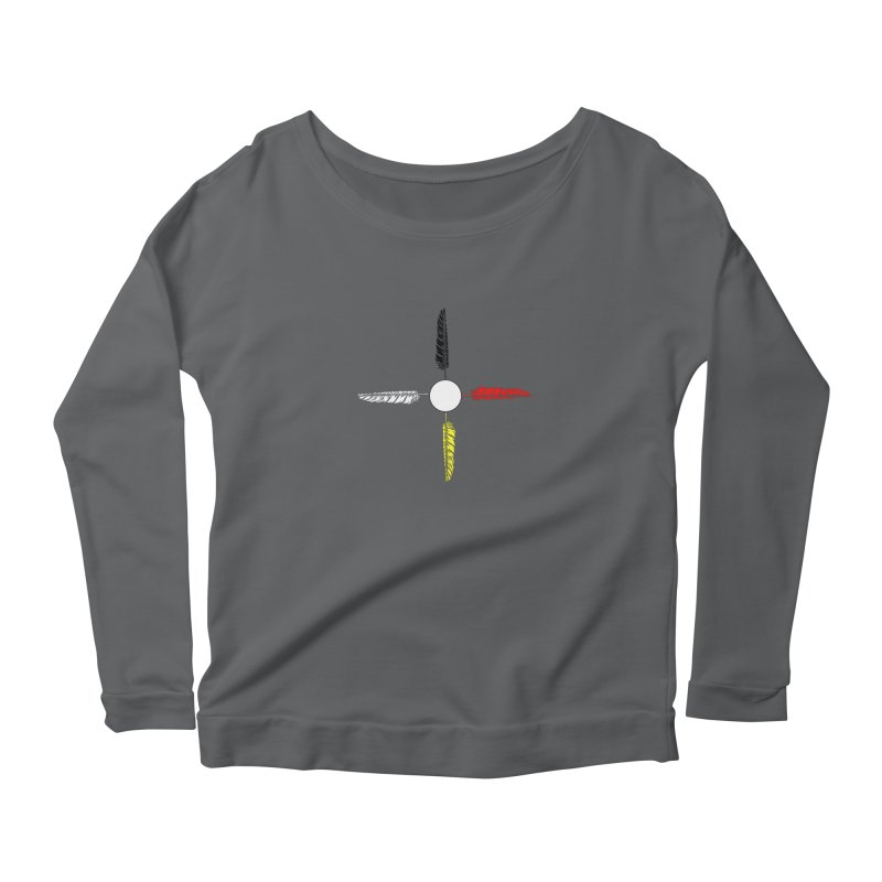 4 Feathered Directions Women's Scoop Neck Longsleeve T-Shirt by NativeHoopMagazine's Artist Shop