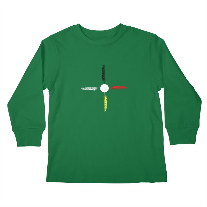 4 Feathered Directions Kids Longsleeve T-Shirt by NativeHoopMagazine's Artist Shop