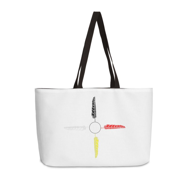 4 Feathered Directions Accessories Weekender Bag Bag by NativeHoopMagazine's Artist Shop