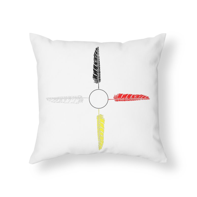 4 Feathered Directions Home Throw Pillow by NativeHoopMagazine's Artist Shop