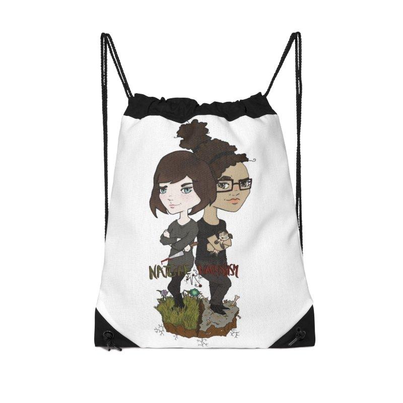 Heather & Marveliz Accessories Drawstring Bag Bag by NaturevsNarcissism's Podcast Swag Shop