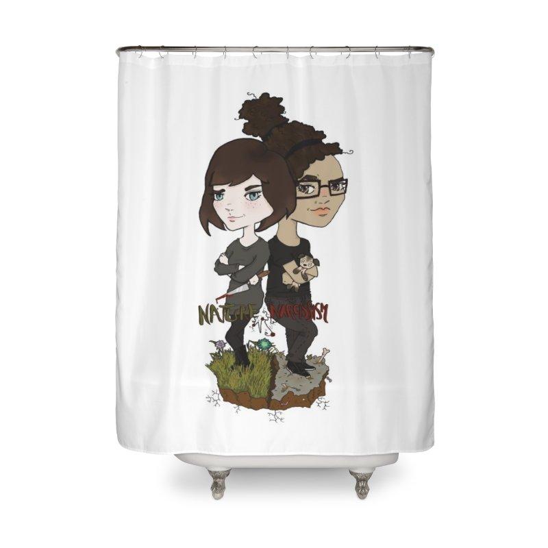 Heather & Marveliz Home Shower Curtain by NaturevsNarcissism's Podcast Swag Shop