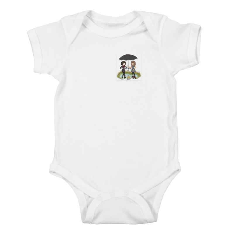 Heather & Rachelle / #SlinkyCrimes Kids Baby Bodysuit by NaturevsNarcissism's Podcast Swag Shop