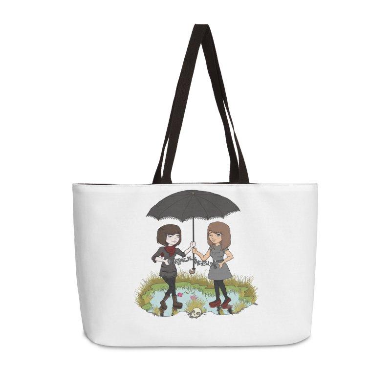 Heather & Rachelle / #SlinkyCrimes Accessories Weekender Bag Bag by NaturevsNarcissism's Podcast Swag Shop