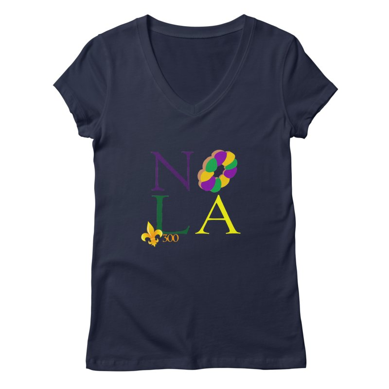 Mardi Gras T-Shirt Design Contest Winner Women's Regular V-Neck by New Orleans Pride