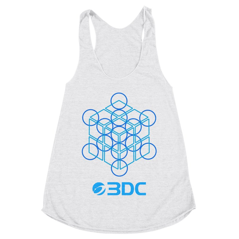 3DC in Women's Racerback Triblend Tank Heather White by Nexus Shop