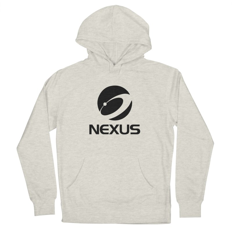 Black Nexus Logo in Men's French Terry Pullover Hoody Heather Oatmeal by NexusEarth's Shop