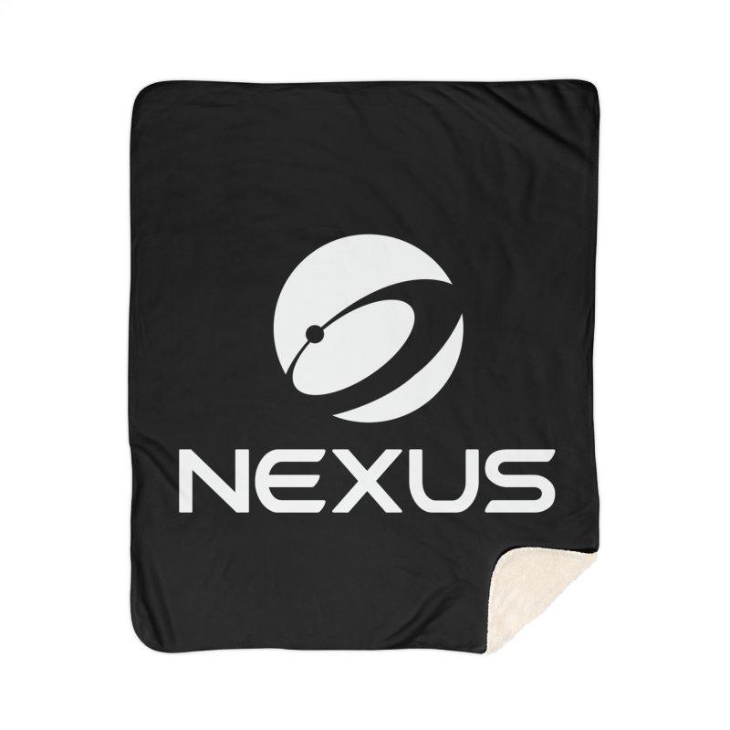 White Nexus Logo Home Sherpa Blanket Blanket by Nexus Shop