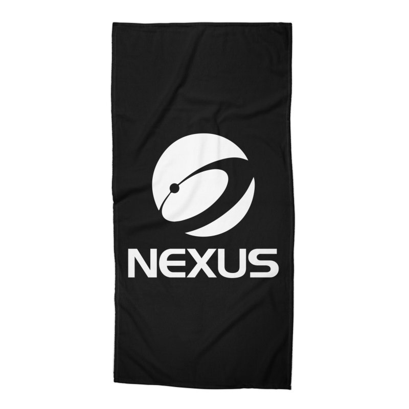 White Nexus Logo Accessories Beach Towel by Nexus Shop